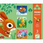 Djeco Primo Jigsaw Puzzle 3, 4 and 5 Pieces - Rabbits