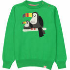 Peru Jacquard Knit Animal Jumper - Kelly Green Toucan