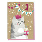 First Birthday Cat Card - Age 1
