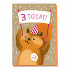 Third Birthday Squirrel Card - Age 3