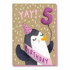 Fifth Birthday Penguin Card - Age 5