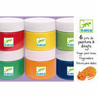Djeco Finger Paints - 6 Colour Tubs