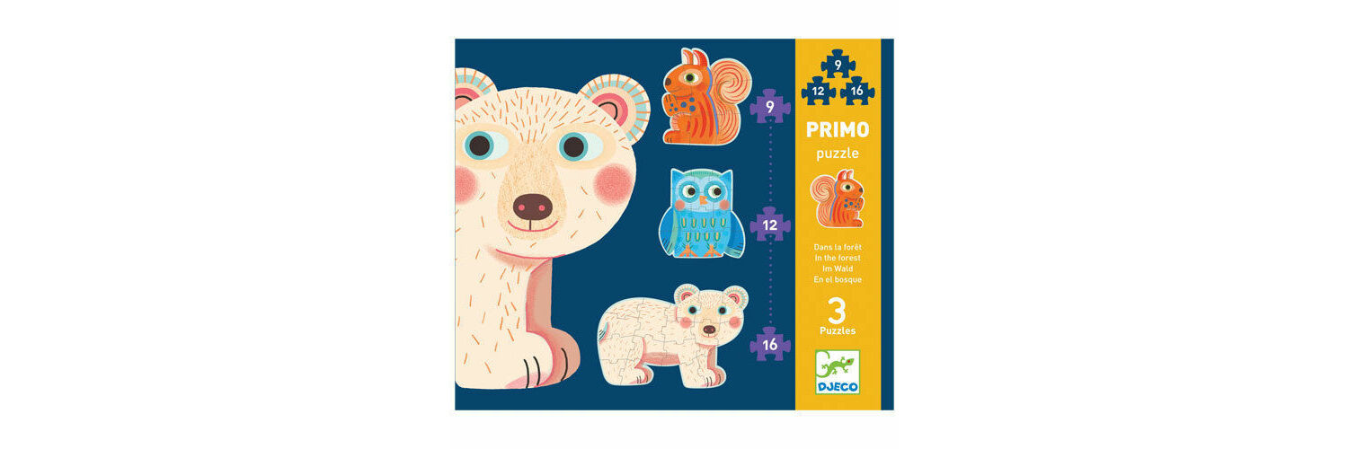 Djeco Primo Set of 3 Jigsaw Puzzles - In the Forest