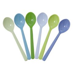 Rice Melamine Set of 6 Spoons - Blues & Greens