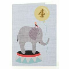 Petra Boase Age 4 Embroidered Birthday Card - Elephant
