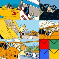 Tintin Set of 8 Greeting Cards - Aeroplane