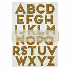 Meri Meri All Wrapped Up Gold Sparkly Alphabet Stickers