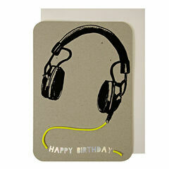 Meri Meri Head Phones with Neon Cord Greeting Card