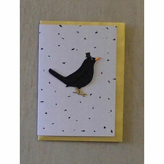 Embroidered Iron-on Patch Greeting Card - Blackbird