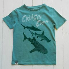 Lion of Leisure Shark Print T-Shirt - Aqua