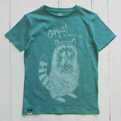 Lion of Leisure Racoon Print T-Shirt - Aqua
