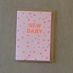 Petra Boase Fluorescent Riso Print New Baby Card - Pink