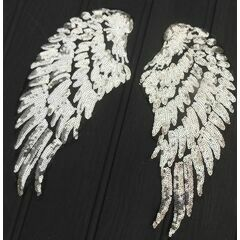 Pair of sequinned iron-on Angel Wings - Silver
