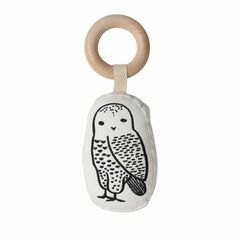Wee Gallery Rattle with Wooden Ring - Owl
