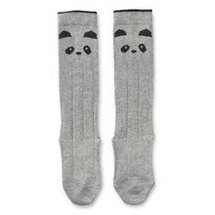 Panda Sofia Cotton Knee Socks - Grey