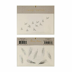 Silver Bird & Feather Tattoos - 2 Pack