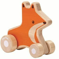Plan Toys Wooden Wheelie Fox Push-Along Toy