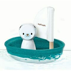 Plan Toys Wooden Sailing Boat with Polar Bear