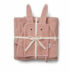 Liewood Cleo Rabbit Terry Towelling Set  - Rose Pink
