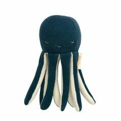 Knitted Organic Cotton Baby Rattle - Octopus