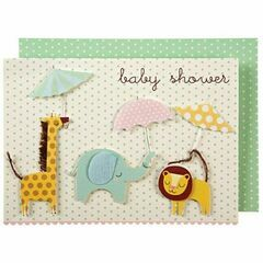 Baby Shower Card - Animals with Umbrellas