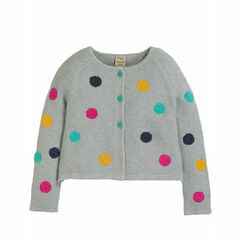 Emilia Embroidered Cardigan, Grey Marl/Multi Spot