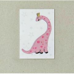Embroidered Iron-on Patch - Pink Dinosaur