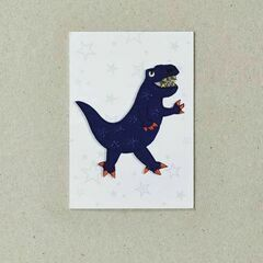 Embroidered Iron-on Patch - Blue Dinosaur
