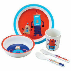 Petit Jour Paris 5 Piece Dinner Gift Set - Sparkly Robots