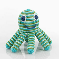 Pebble Octopus Baby Rattle - Green & Blue