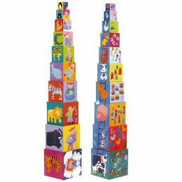 Djeco Stacking Cubes - Funny Animals