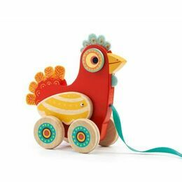 Djeco Polka Hen Pull-Along Chicken Toy