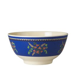 Rice Melamine Two Tone Bowl - Blue Flower