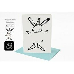 Wee Gallery Colour in Dress-up Greeting Card - Bunny