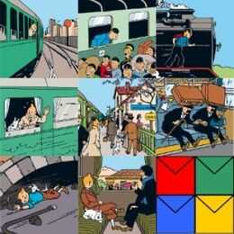 Tintin Set of 8 Greeting Cards - Train
