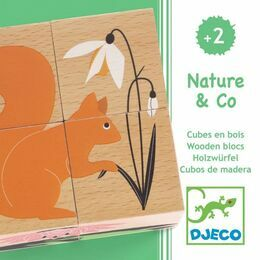 Djeco 4 Piece Wooden Cube Puzzle - Nature & Co