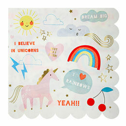 Meri Meri Rainbow & Unicorn Party Large Napkin