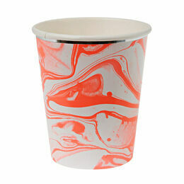 Meri Meri Marble Neon Orange Pattern Cups