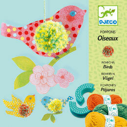 Djeco Pompon Making Kit - 3 Hanging Birds