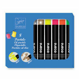 Djeco 8 Oil Pastels - Pop Colours