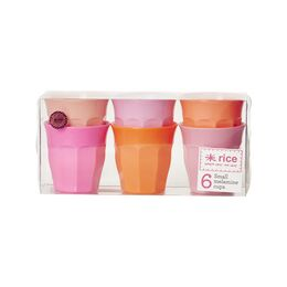 Rice Set of 6 Small Melamine Cups - Pink & Orange