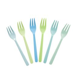 Rice Set of 6 Melamine Forks - Blue & Green