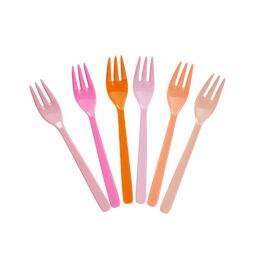 Rice Set of 6 Melamine Forks - Pink & Orange
