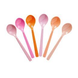 Rice Set of 6 Melamine Spoons - Pink & Orange