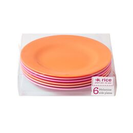 Rice Set of 6 Melamine Plates - Pink & Orange