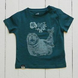 Lion of Leisure Seal Print T-Shirt - Petrol