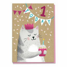 First Birthday Cat Greeting Card Stormy Knight - Age 1
