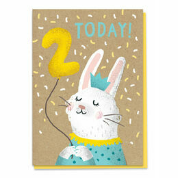Second Birthday Bunny Stormy Knight Greeting Card - Age 2