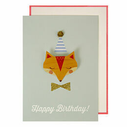 Fox Badge Birthday Card