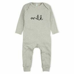 Organic Zoo Milk All-In-One Playsuit - Grey Stripes